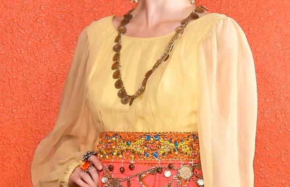 1960s Gypsy Dress Paisley Print Bells Bishop Slee… - image 8