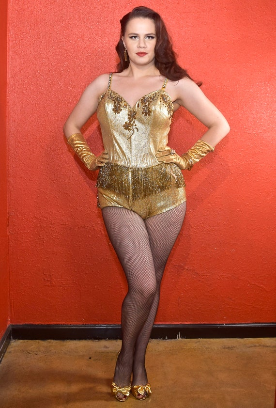 1950s Gold Lurex Showgirl Burlesque Swimsuit Cost… - image 3