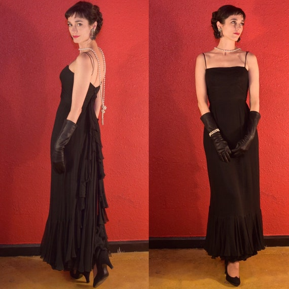 1950s Black Chiffon Demi Couture Quality Gown