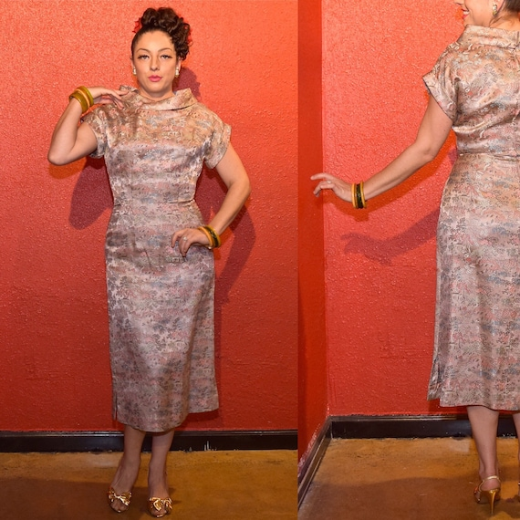 1950s Pink Brocade Asian Print Fitted Cocktail Dr… - image 6