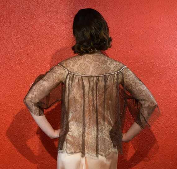 1950s Lucie Ann Lace Lingerie Bed Jacket Loungewe… - image 4