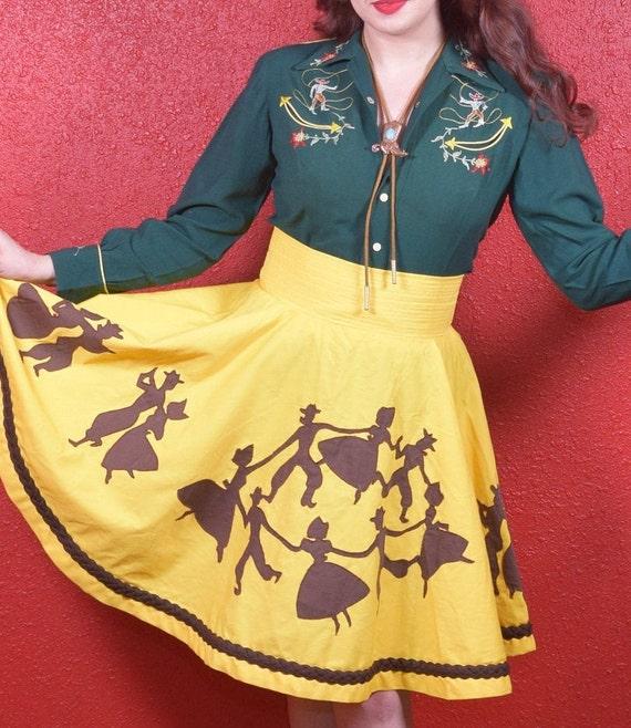 1950s 50s Style Western Novelty Print Circle Skirt - image 2