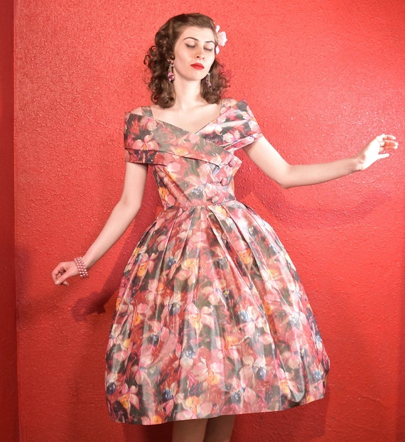 1950s Suzy Perette Designer Fit and Flare Dress - image 2