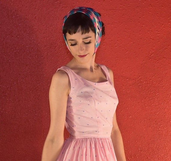 1950s Pink Gingham Dress Cotton Fit & Flare - image 3
