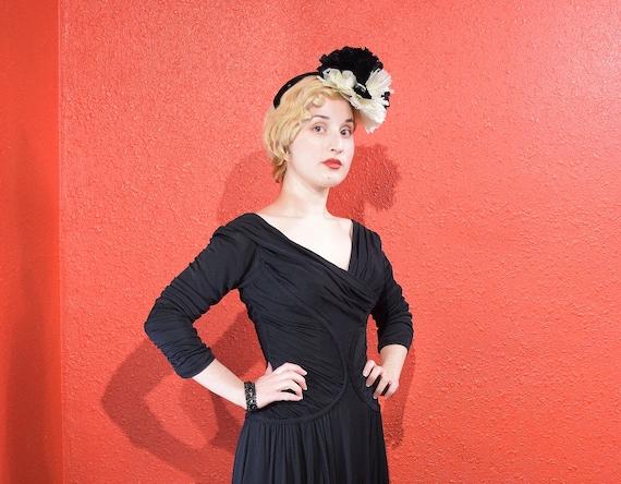 1950s Ceil Chapman Designer Jersey Draped Dress - image 5
