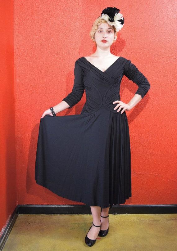 1950s Ceil Chapman Designer Jersey Draped Dress - image 2