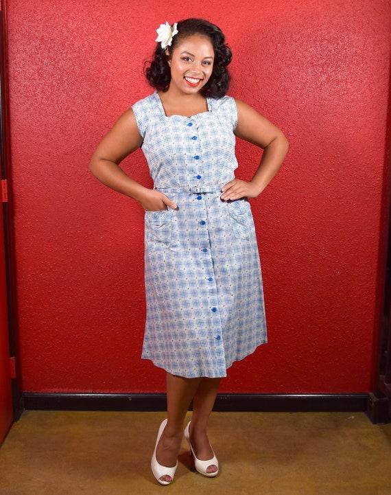 1950s Cotton Plaid  Large Shirtwaist with Belt - image 2