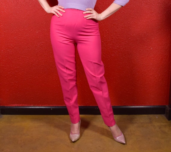 1950s Shocking Pink Cigarette Pants Capris by Alex