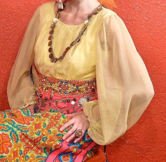 1960s Gypsy Dress Paisley Print Bells Bishop Slee… - image 5