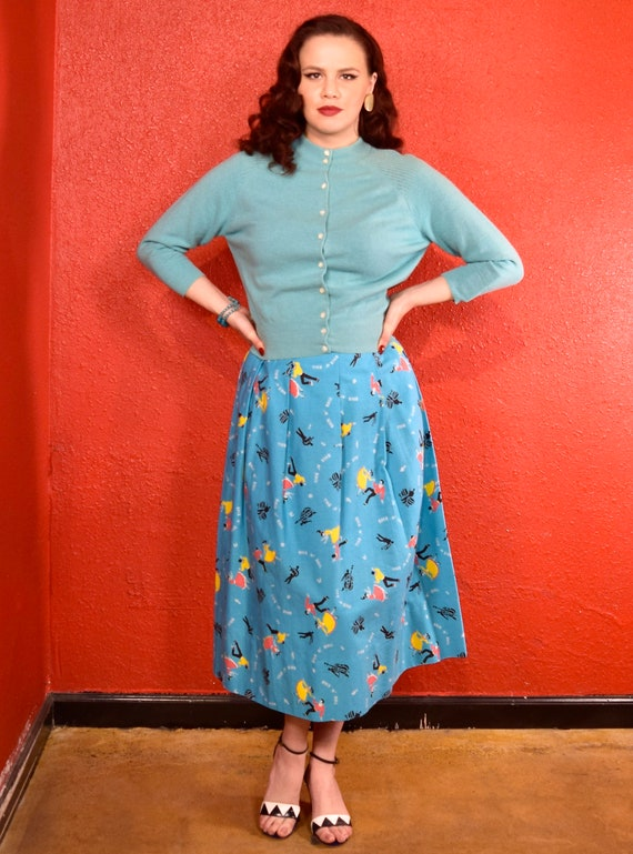 1950s Rock and Roll Novelty Print Skirt - image 2