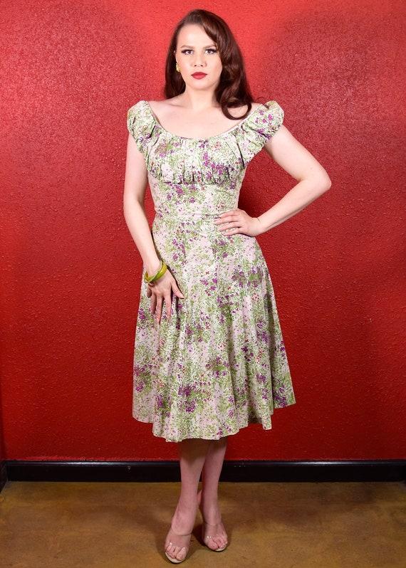 1950s Pat Premo Floral Dress Cotton