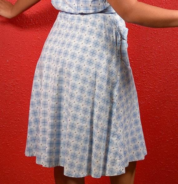 1950s Cotton Plaid  Large Shirtwaist with Belt - image 8