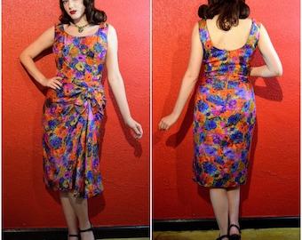 1950s Mr Blackwell Sarong Dress Designer Vintage Medium Large