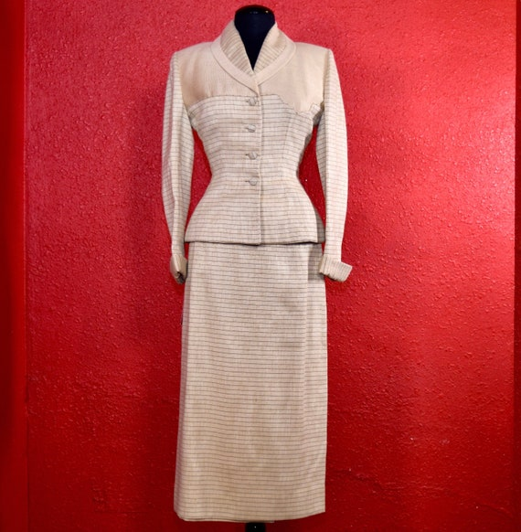 1950s Lilli Ann Suit Ivory Imported Fabric - image 1