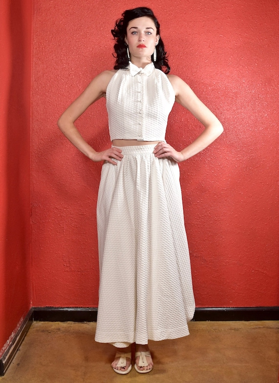 Rare Claire McCardell 1950s White Dress Two Piece - image 3