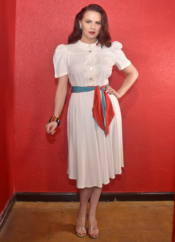 1940s Rayon Dress White with Color Block Tie Joan