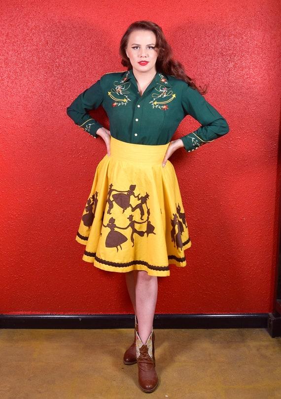 1950s 50s Style Western Novelty Print Circle Skirt - image 6