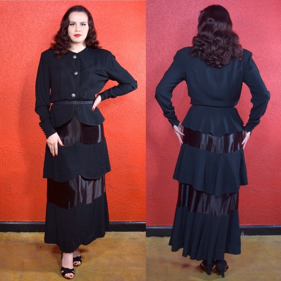 1930s 40s Black Crepe Skirt Suit Olga Original - image 1