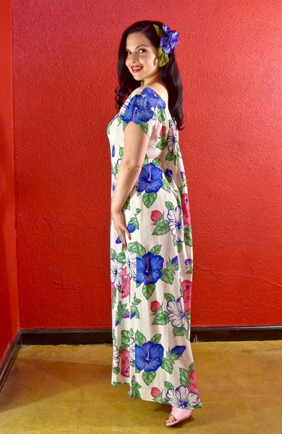 1940s 50s Rayon Hawaiian Print Dress - image 4