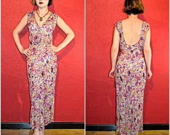 1930s Silk Chiffon Dress Bias Cut Abstract Floral Medium