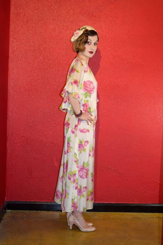 1920s 30s Rose Print Rayon Dress with Bolero - image 4