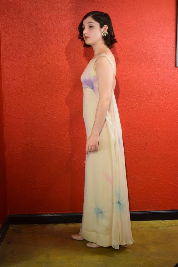 1970s Halston International Chiffon Ivory Gown De… - image 3