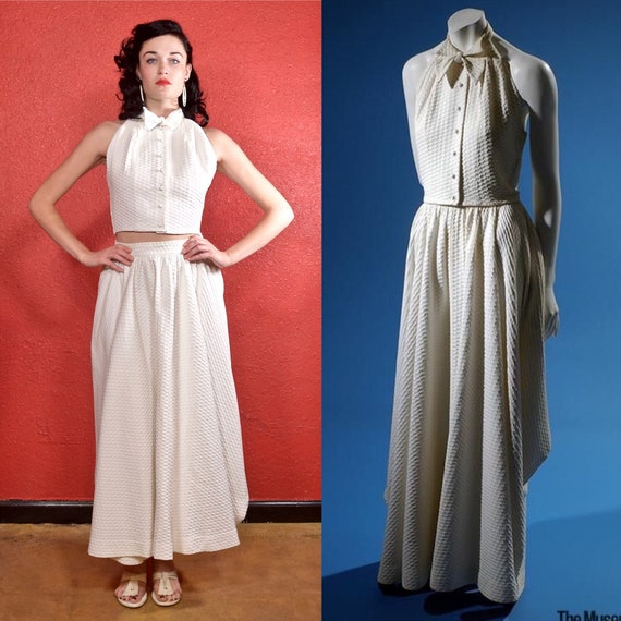 Rare Claire McCardell 1950s White Dress Two Piece - image 9