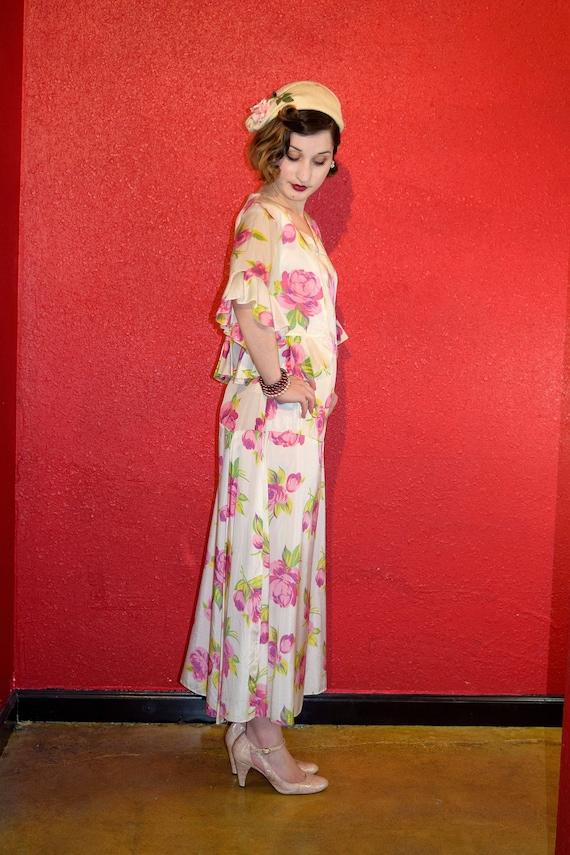 1920s 30s Rose Print Rayon Dress with Bolero - image 5