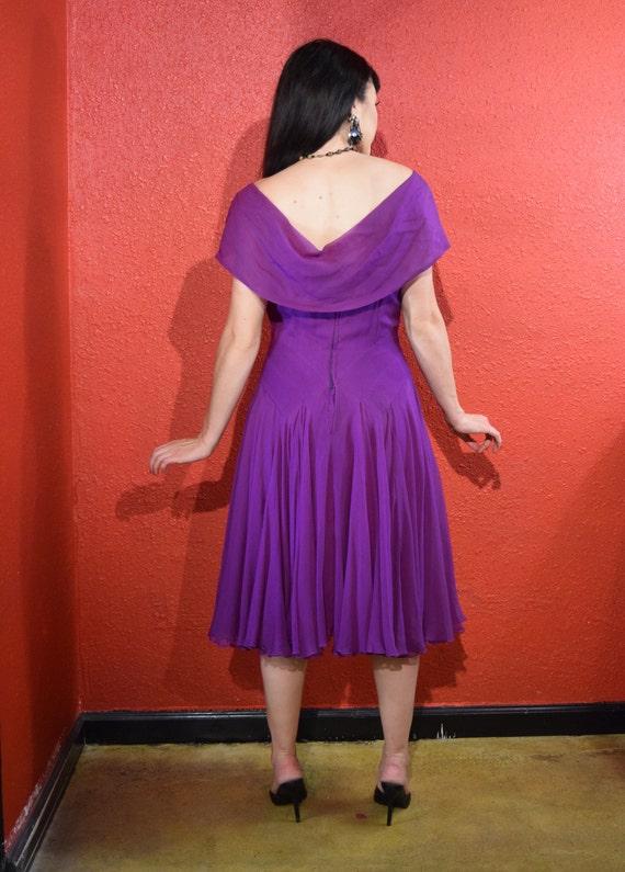 Stunning 1950s Purple Silk Chiffon Dress Medium - image 7