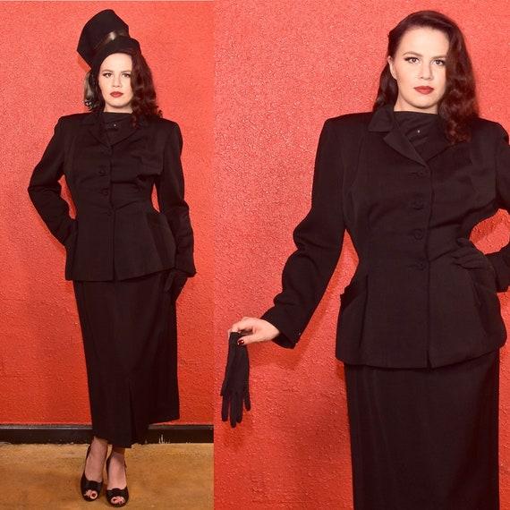 1940s Black Gabardine Suit Classic Skirt Set