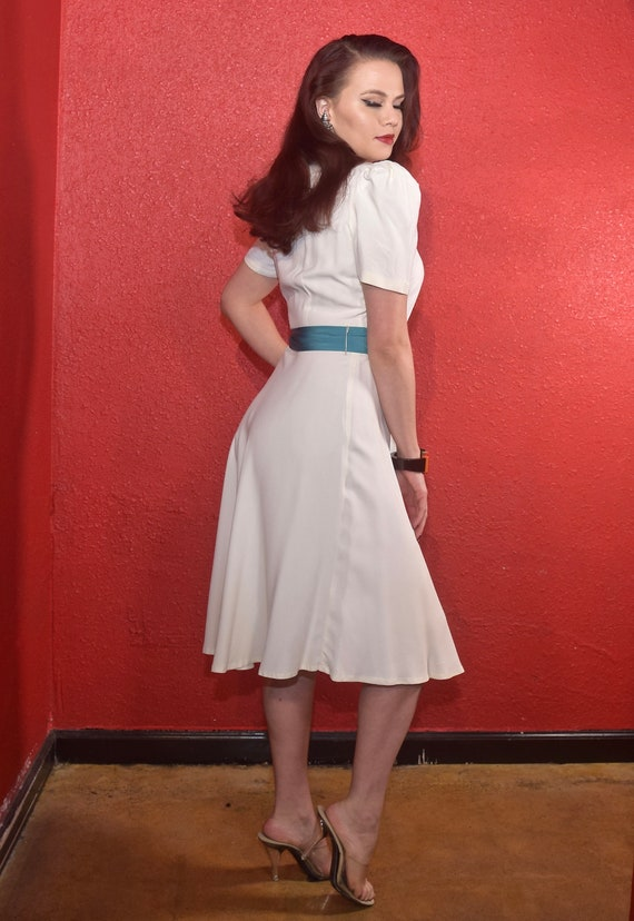 1940s Rayon Dress White with Color Block Tie Joan… - image 5