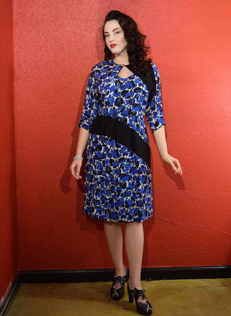 1940s Silk Print Dress Blue Abstract Floral with Panels Medium