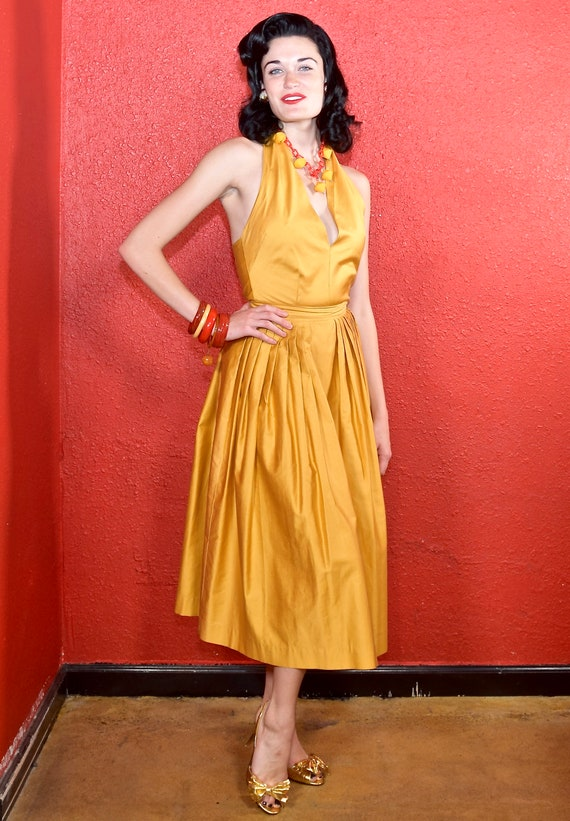 1950s Gold Polished Cotton Two Piece Dress Nelly … - image 2