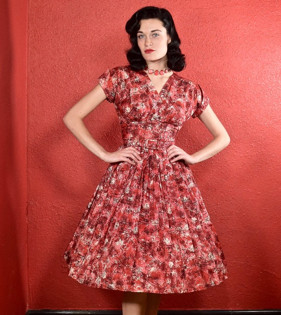 1950s Jonathon Logan Dress Novelty Print