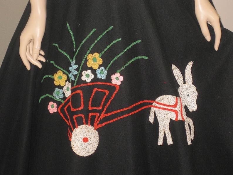 Fun 1950/'s Felt Glitter Donkey Circle Skirt by Fligelman New York