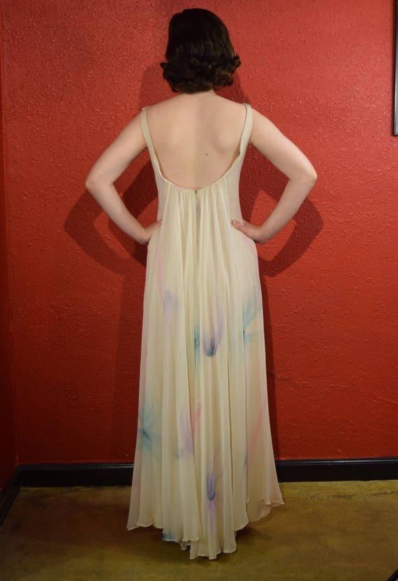 1970s Halston International Chiffon Ivory Gown De… - image 5
