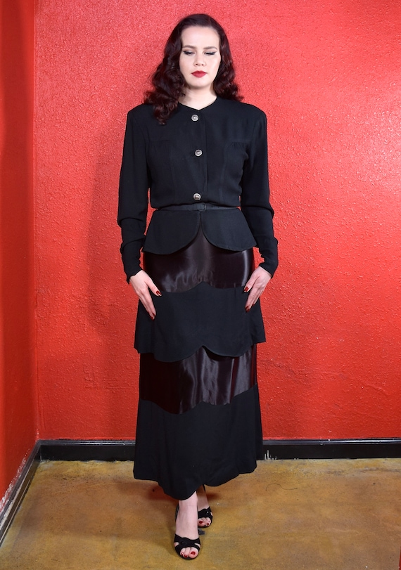 1930s 40s Black Crepe Skirt Suit Olga Original - image 2