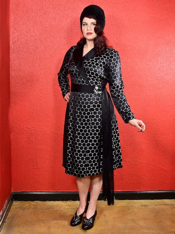 1920s Black Dot Silk Shift Chemise Dress - image 6