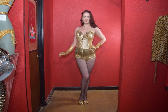 1950s Gold Lurex Showgirl Burlesque Swimsuit Cost… - image 5