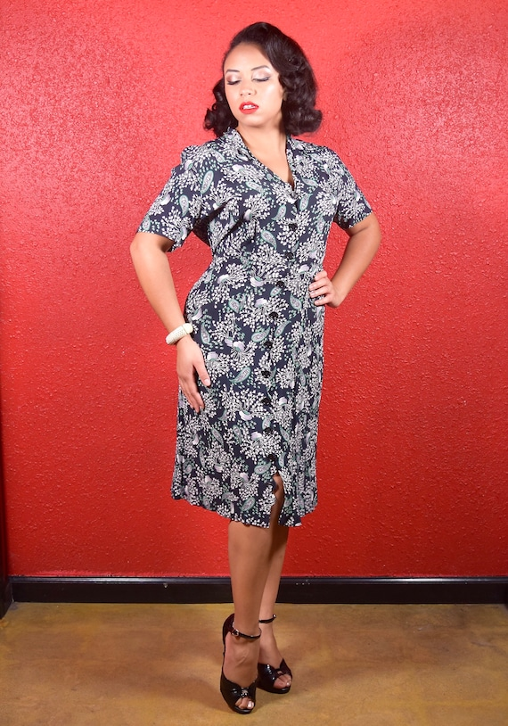 1940s Rayon Crepe Urn Print Shirtwaist Dress XL XX