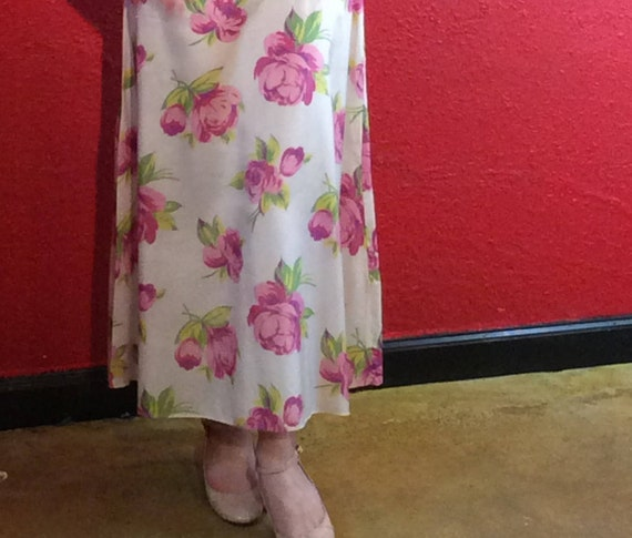 1920s 30s Rose Print Rayon Dress with Bolero - image 7