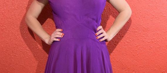Stunning 1950s Purple Silk Chiffon Dress Medium - image 6