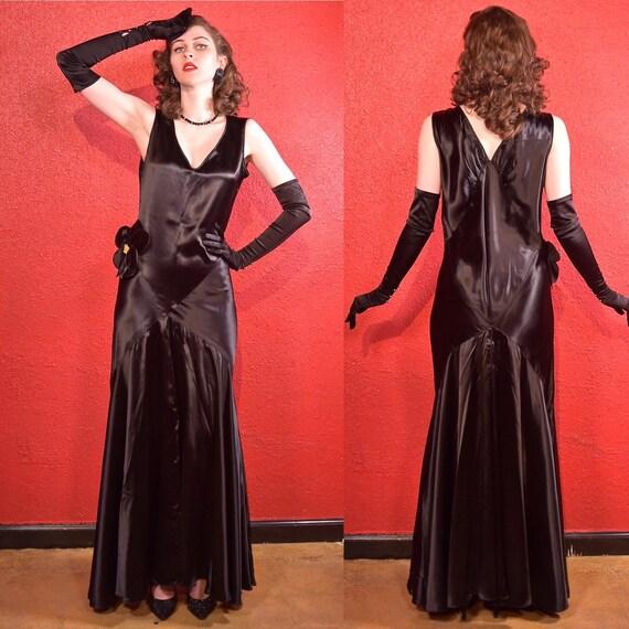 1930s Bias Cut Deco Gown Black Gothic Wedding