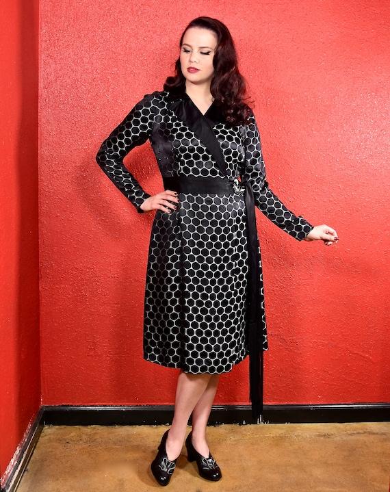 1920s Black Dot Silk Shift Chemise Dress - image 1