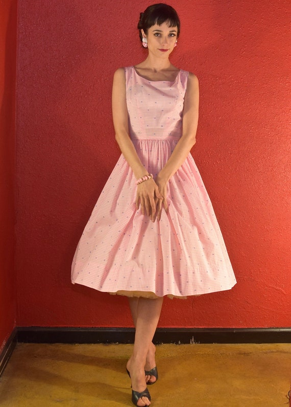 1950s Pink Gingham Dress Cotton Fit & Flare - image 7
