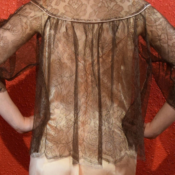 1950s Lucie Ann Lace Lingerie Bed Jacket Loungewe… - image 6