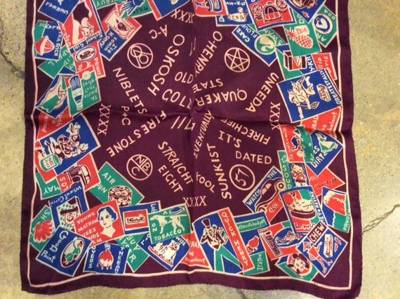 1940s Advertising Novelty Print Rayon Scarf