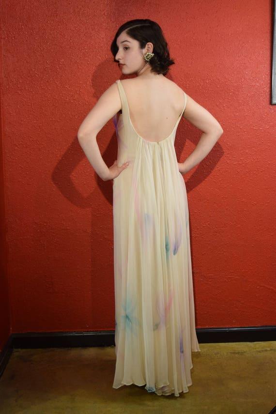 1970s Halston International Chiffon Ivory Gown De… - image 4
