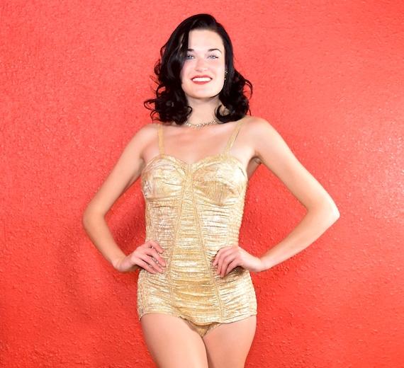 1950s Rare Gold Lurex Swimsuit Muriel Swim and Sun