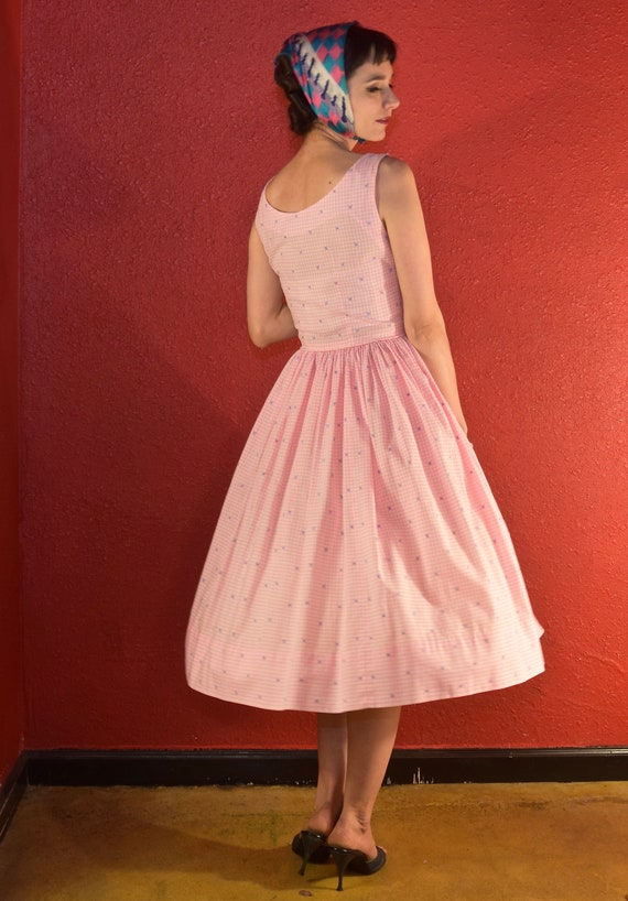 1950s Pink Gingham Dress Cotton Fit & Flare - image 5